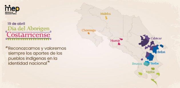 Se ilustra un mapa de Costa Rica, identificando los grupos de los pueblos indíge