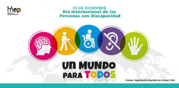 Imagen se ilustra un mapamundi y sobre el en circulos diferentes discapacidades