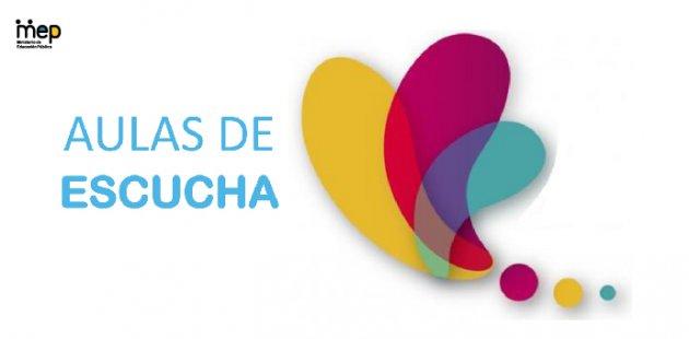 Afiche con un ícono de tres colores, amarillo, celeste y rosado.