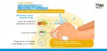 Afiche ilustrando el lavado de manos de forma vector, acompañada del texto