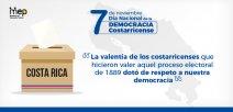 Afiche muestra se ilustra el mapa de Costa Rica y caja de uso electoral