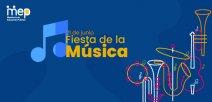 afiche con fondo azul, con símbolos de instrumentos musicales.