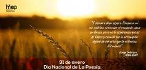 un amanecer explendoroso sobre una zona de campos de trigo, con un texto.