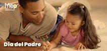 Afiche que muestra a un papá con su hija pintando o estudiando.